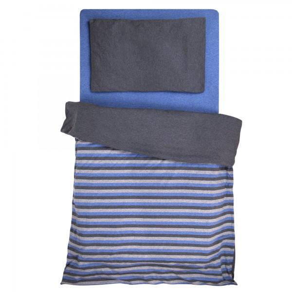 Jersey Melange Baby Wende Bettwäsche blau-grau