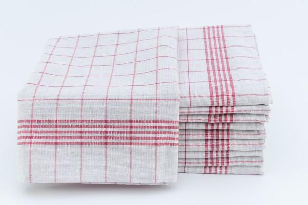 Geschirrtücher Halbleinen 10er Pack Rot/Weiß kariert 50x70cm