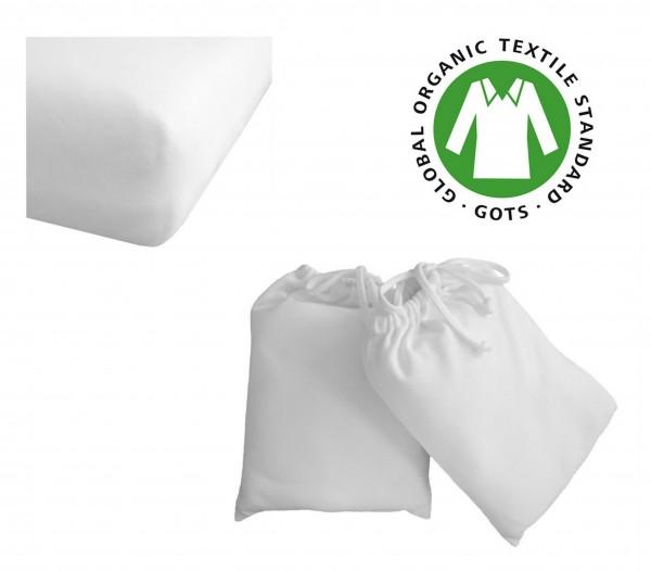 Spannbettlaken reine Bio Baumwolle 60x120 - 70x140 cm weiss für Kinder - Baby Bett