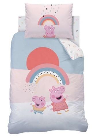 Bettwäsche Peppa Pig und George Rainbow 40x60 100x135 cm