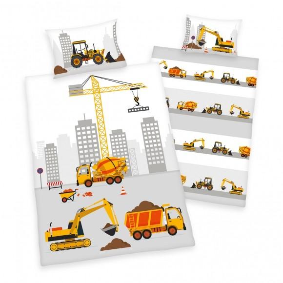 Bettwäsche Baufahrzeuge 40x60 100x135 cm