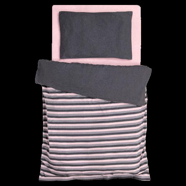 Jersey Melange Baby Wende Bettwäsche rosa-grau