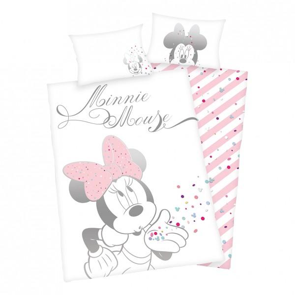 Bettwäsche Minnie Mouse Glitter 40x60 100x135 cm