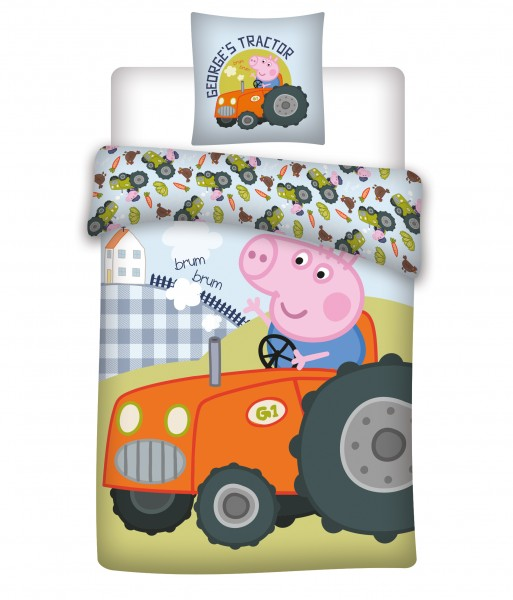 Bettwäsche Peppa Pig Traktor 40x60 100x135 cm George