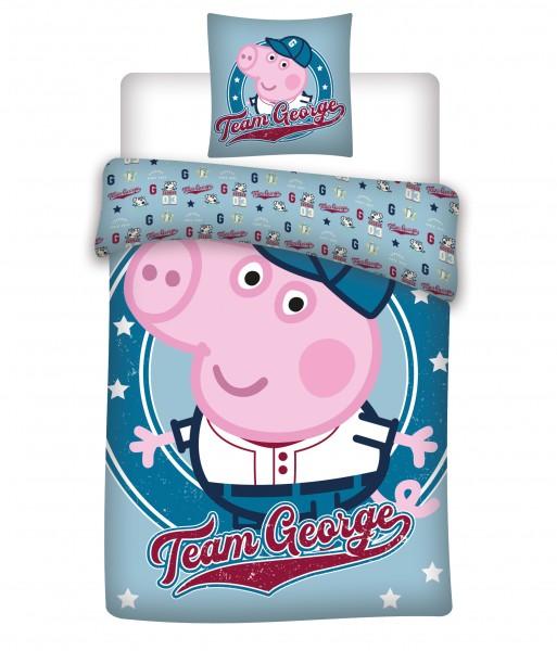 Bettwäsche Peppa Pig Team George 40x60 100x135 cm