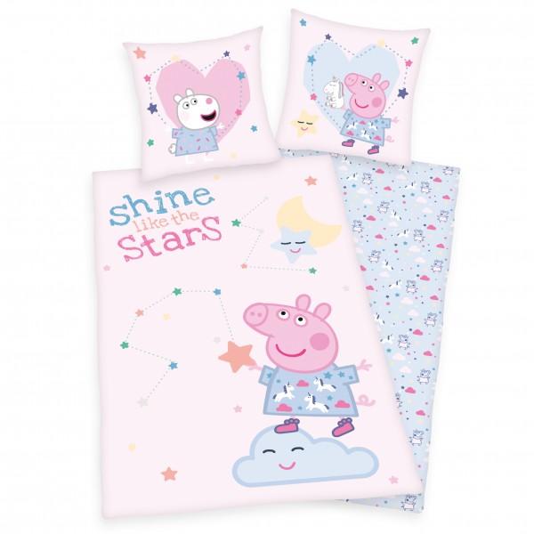 Bettwäsche Peppa Pig 80x80 135x200 cm Shining Stars
