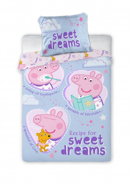 Bettwäsche Peppa Pig Sweet Dreams 40x60 100x135 cm - Lila