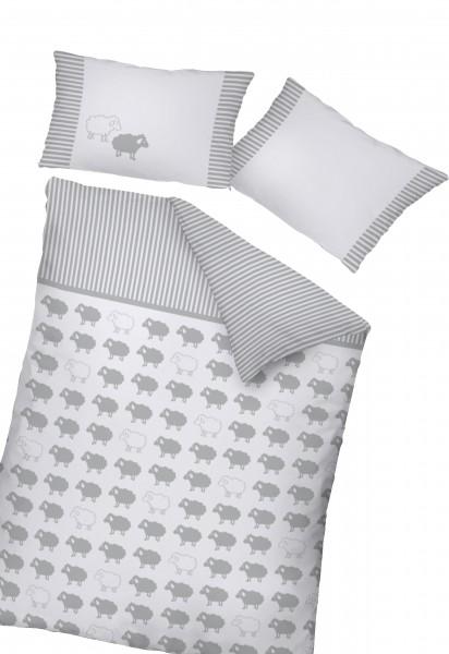 Bettwäsche Schäfchen 40x60 100x135 cm mit Streifen