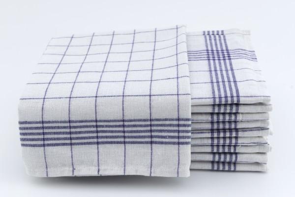 Geschirrtücher Halbleinen 10er Pack Blau/Weiß kariert 50x70cm