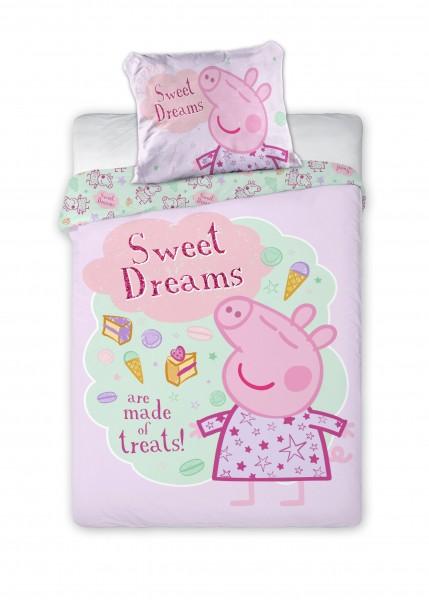Bettwäsche Peppa Pig Sweet Dreams 40x60 100x135 cm - rosa