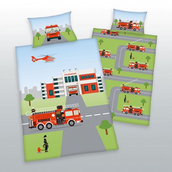 Bio Bettwäsche Feuerwehr 40x60 100x135 cm