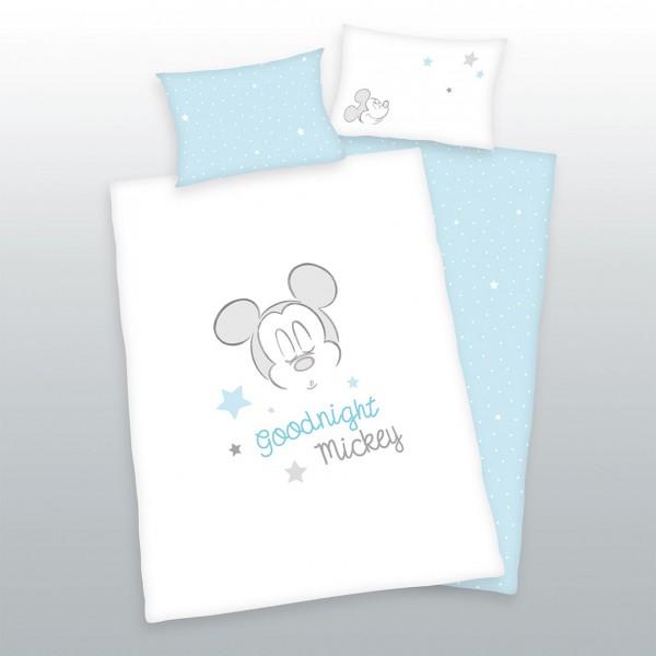 Bio Bettwäsche Mickey Mouse Good Night 40x60 100x135 cm